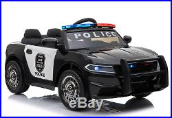 12V Kids Electric Ride On Police Car 2.4G RC Siren Opening Side Door Twin Motor
