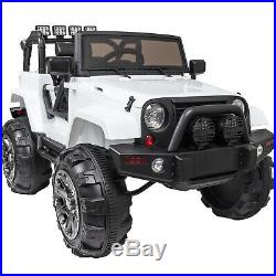 12V Kids Ride On Car Electric with Parental Remote/Wrangler Style Jeep (White)