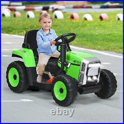 12V Kids Ride On Tractor With Trailer Electric 3-Gear-Shift Ground Loader Toy Car