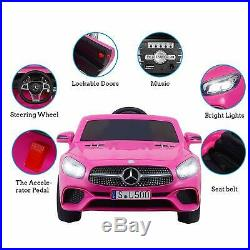 12V Mercedes Benz Official Licensed Kids Ride On Electric Car Music Outdoor Pink