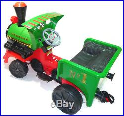 12v Kids Outdoor Play Train Ride On Car Electric Engine Locomotive Play Green