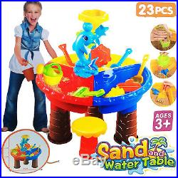 23PC KIDS ROUND SAND WATER TABLE With STOOL BEACH GARDEN SANDPIT ACTIVITY PLAY SET