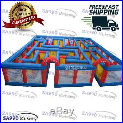 39x39x6.5ft Inflatable Outdoor Maze Bounce Obstacle Course With 2 Air Blower