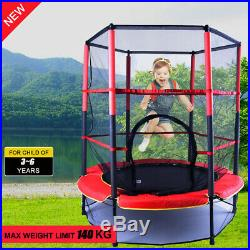 4.5FT Childrens Trampoline With Safety Net Pads Enclosure Kids Rebounder New