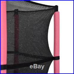 4.5FT Mini Trampoline Set with Enclosure Safety Net Outdoor 55 Kids Toy Pink