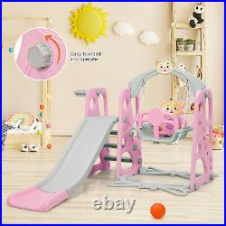 4 in 1 Kids Play Toddler Climber and Swing Set Playset Backyard Playground