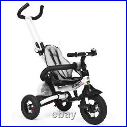 6-in-1 Baby Foldable Stroller Tricycle with Adjustable Canopy Kids Safe Bicycle