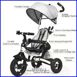 6 in 1 Foldable Baby Tricycle Kids First Bike Stroller Adjustable Remove Canopy
