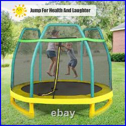 7FT Kids Trampoline with Safety Enclosure Net & Spring Pad Outdoor Indoor Toy