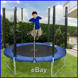 8FT Trampoline with Padded Poles & Safety Net Enclosure Kids Outdoor Exercise UK