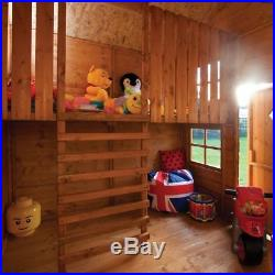 8x7 WOODEN PLAYHOUSE WOOD 2 FLOOR KIDS PLAY WENDY HOUSE CHILDS OUTDOOR LADDER