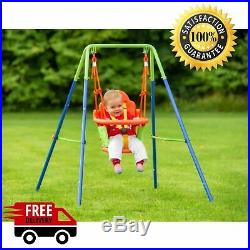 Baby Garden Swing Kids Childrens Junior Outdoor Swings Toy With Safety Harness