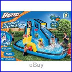 Banzai Kids Inflatable Outdoor Battle Blast Adventure Water Park Slide and Pool