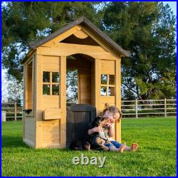 Be Mindful Natural Solid Wood Finish Outdoor Backyard Kids Activity Playhouse