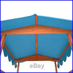 Childrens Sand Pit Box Roof Kids Play House Sun Protection Wooden Outdoor Garden