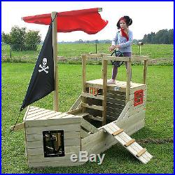 Childrens Wooden Outdoor Pirate Ship Activity Playhouse Centre Boat Kids