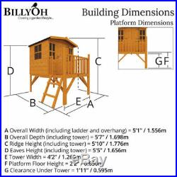 Childrens Wooden Playhouse Outdoor Garden Treehouse Kids Tower Play House