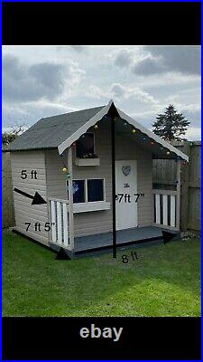 Childrens painted wooden playhouse Kids outdoor garden wendy house has upstairs