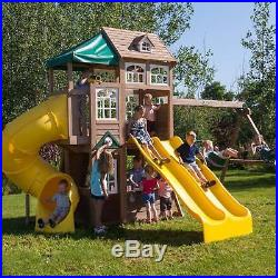 Climbing Frame Clubhouse Set Wood Outdoor Twin Slides Swings Chute Play Park Kid