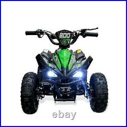 Electric Quad Bike 800W 36V Midi/Mini Kids 6 TUBELESS WHEELS 3SP L. E. D GREEN