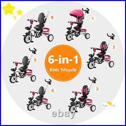 Folding Baby Tricycle 6 in 1 Use Kids First Bike Stroller with 360° Swivel Seat
