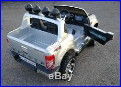 Ford Ranger Kids Ride On Car Painted Silver 12 Volt With Leather Seat