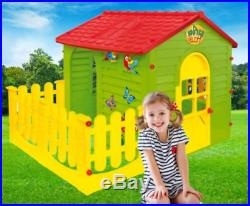 GARDEN HOUSE WITH FENCE Kids Playhouse Childrens