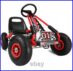 Go Kart Kids Childrens Pedal Ride On Car Racing Toy Rubber Tyres Wheels 4-8 Year