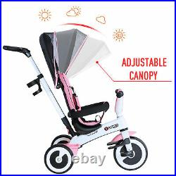 HOMCOM Baby Tricycle Children's 4 In 1 Trikes Kids Stroller With Canopy Pink