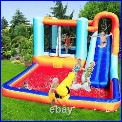 Hoovy Inflatable Outdoor Kids Bounce House Trampoline Water Park Slide with Blower