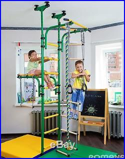 Huge Kids Playground, Indoor Gym with Gymnastic Rings, Rope, Ladder, Trapeze Bar