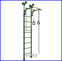 Indoor Ceiling Floor Kids PlaySet with Gymnastic Rings, Rope, Trapeze Bar, Steps