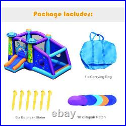 Inflatable Bounce House Kids Cartoon Castle Jumping Bouncer with Water Slide & Bag