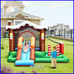 Inflatable Bounce House Kids Cute Jumping Castle with Slide Basketball Rim & Bag