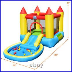 Inflatable Bounce House Safety Three Play Areas Kids Bouncy Castle with Slide Pool