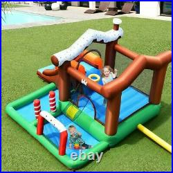 Inflatable Bounce House Safety Three Play Areas Kids Candy Castle with Slide Pool