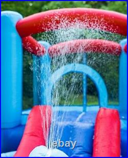 Inflatable Water Slide and Bounce House with Blower and Splash Pool for Kids