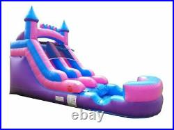 Inflatable Wet Dry Slide 13'H Pink-Blue Kids Water Slide Pool With Blower & Tarp