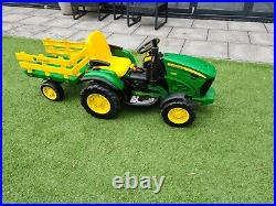 John Deere Kids Ride On Toy Tractor, 12v Battery, with charger / trailer perego