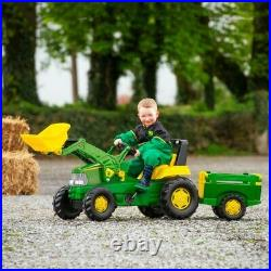 John Deere Large Tractor, Trailer and Loader Ride On Toy For Kids With 360° Spin