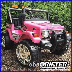 KIDS 12V Drifter Electric Ride On Car 4X4 Jeep 2-SEATS Remote Control PINK
