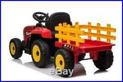 Kid's Ride On Twin Motor R/M Tractor & Trailer 12V Kids' Electric Ride OnPleas