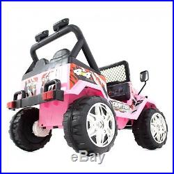 Kids 12v Raptor Electric Ride On Car 4x4 Jeep 2-seats Remote Control Pink
