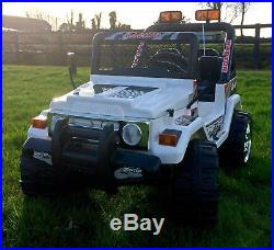Kids 12v Raptor Electric Ride On Car 4x4 Jeep 2-seats Remote Control White