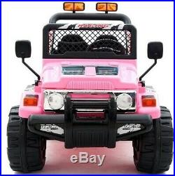 Kids 2 Seater Wrangler Ride on 12v Electric Battery 4x4 Car Truck Jeep in Pink