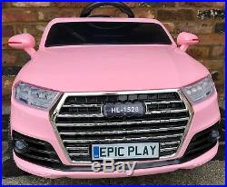 Kids Audi Q7 SUV S Line Style 12v Electric Battery ride on car jeep 4x4 Pink