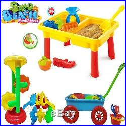 Kids Beach Sand Water Plastic Windmill Sandpit Wagon Wheel Table Tools Toy Xmas