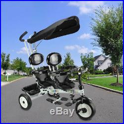 Kids Child Trike Tricycle 3 Wheel 4 In 1 Bike With Handle Baby Infant Twin Seats