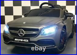 Kids Electric Cars 12v Licensed Mercedes C63 AMG Battery Ride On & Remote Grey