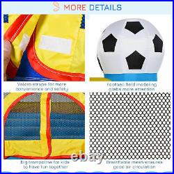 Kids Football Bouncy Castle House with Safety Net Outdoor Play Trampoline 3-12 Yrs